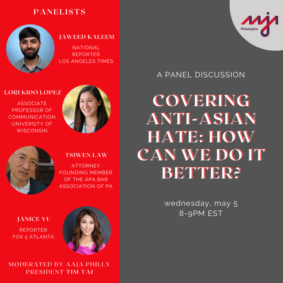 """graphic to promote panel discussion with panelist titles and headshots, and the title """"covering anti-asian hate: how can we do it better?"""""""